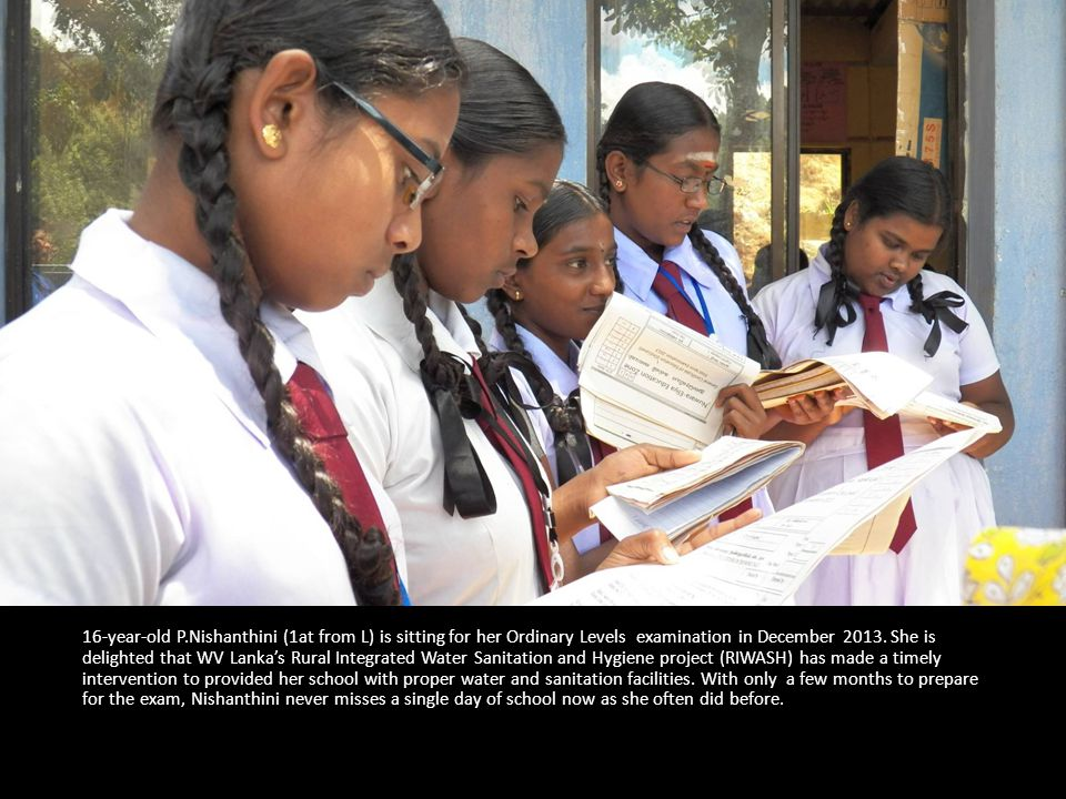 16-year-old P.Nishanthini (1at from L) is sitting for her Ordinary Levels examination in December 2013.
