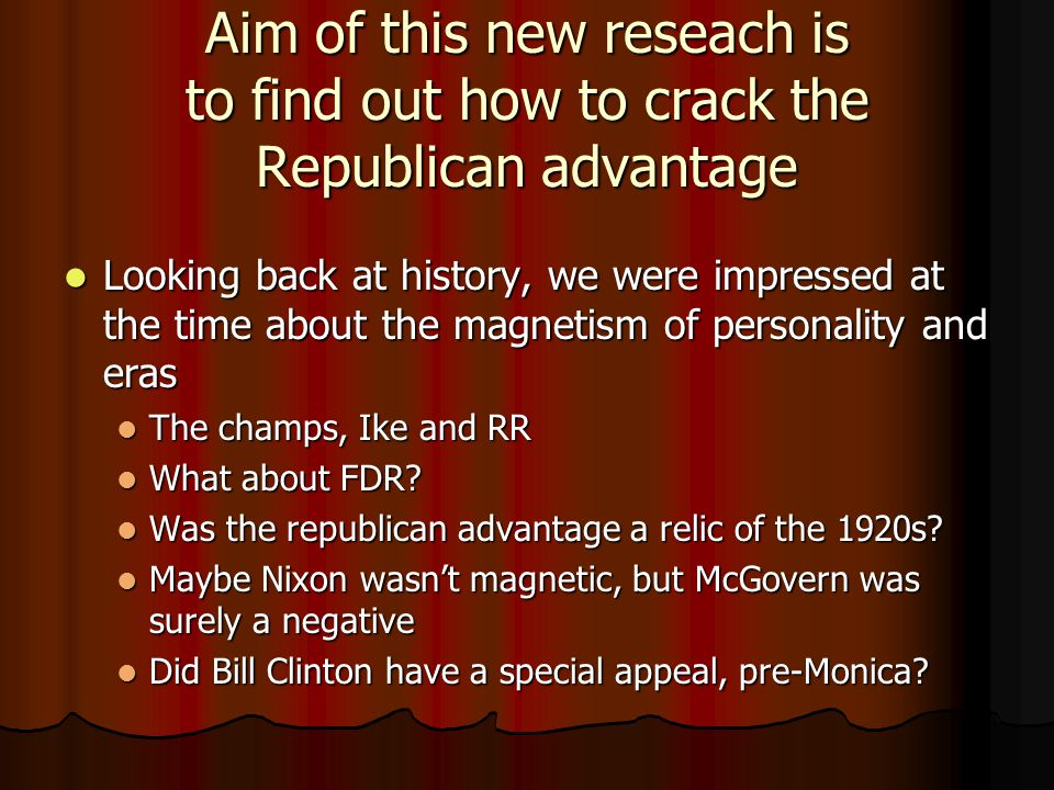 Aim of this new reseach is to find out how to crack the Republican advantage Looking back at history, we were impressed at the time about the magnetism of personality and eras Looking back at history, we were impressed at the time about the magnetism of personality and eras The champs, Ike and RR The champs, Ike and RR What about FDR.