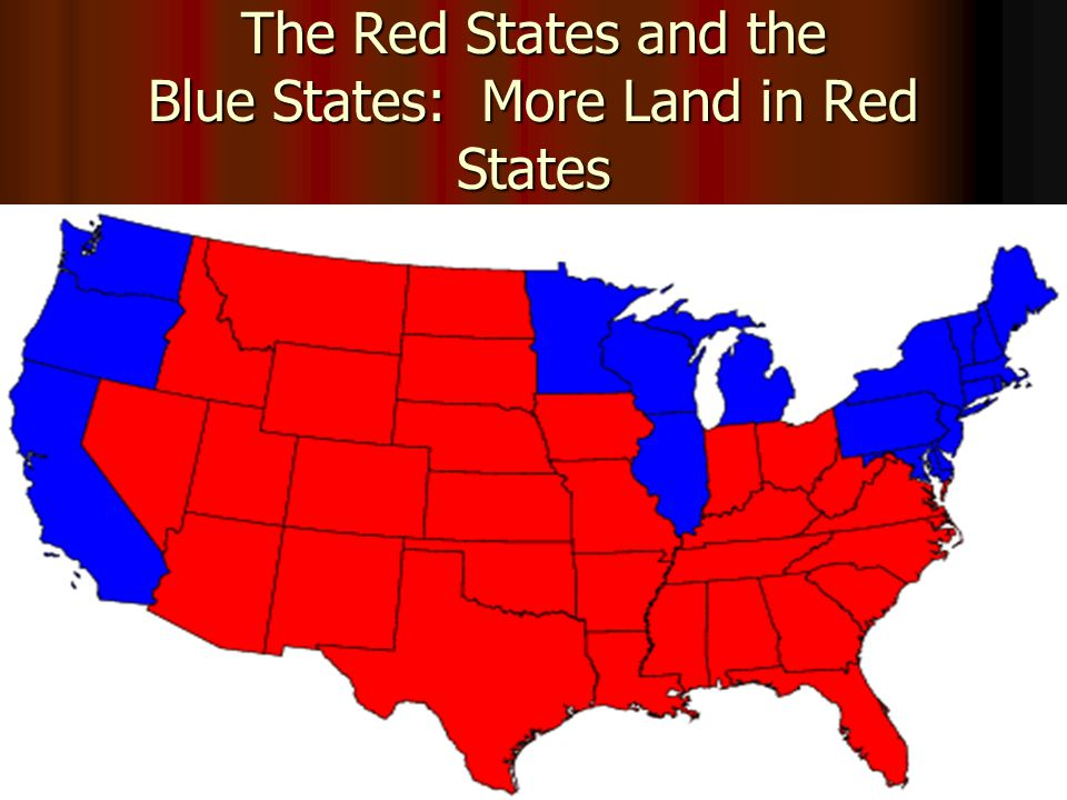The Red States and the Blue States: More Land in Red States