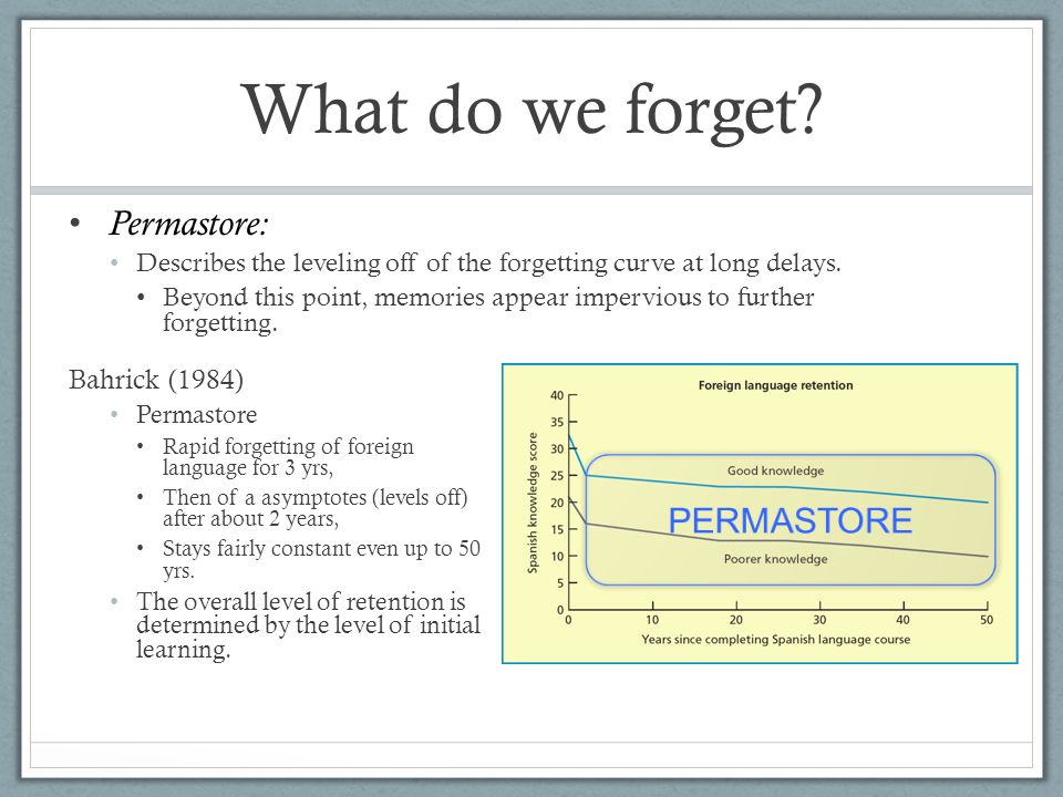 What do we forget. Permastore: Describes the leveling off of the forgetting curve at long delays.