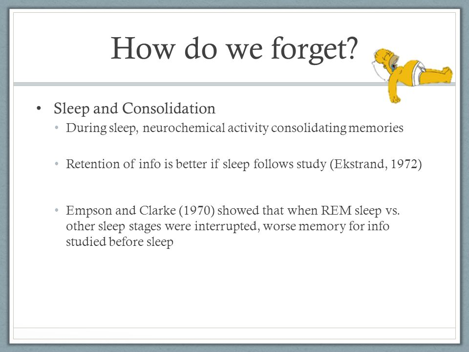 Sleep and Consolidation During sleep, neurochemical activity consolidating memories Retention of info is better if sleep follows study (Ekstrand, 1972) Empson and Clarke (1970) showed that when REM sleep vs.