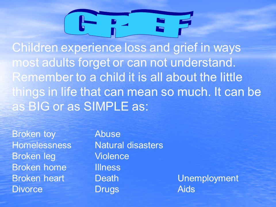 Children experience loss and grief in ways most adults forget or can not understand.