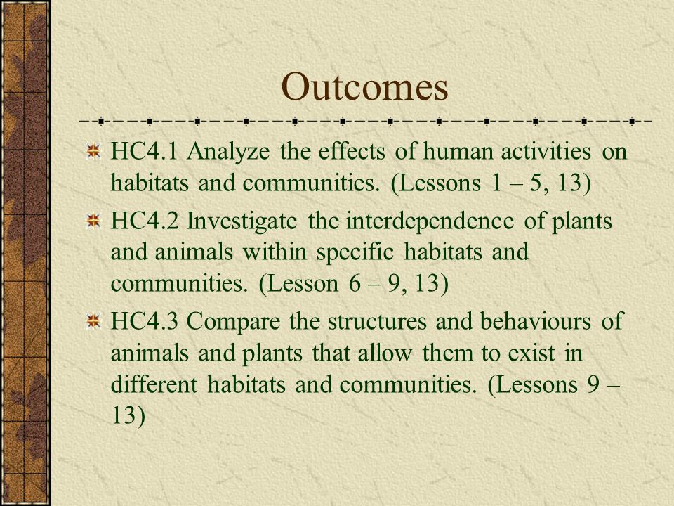 Lesson 11: Identifying Adaptations Outcome: HC4.3, Indicators: d, g View a variety of organisms Attempt to identify their physical adaptations Play an interactive game that focuses on animal adaptations