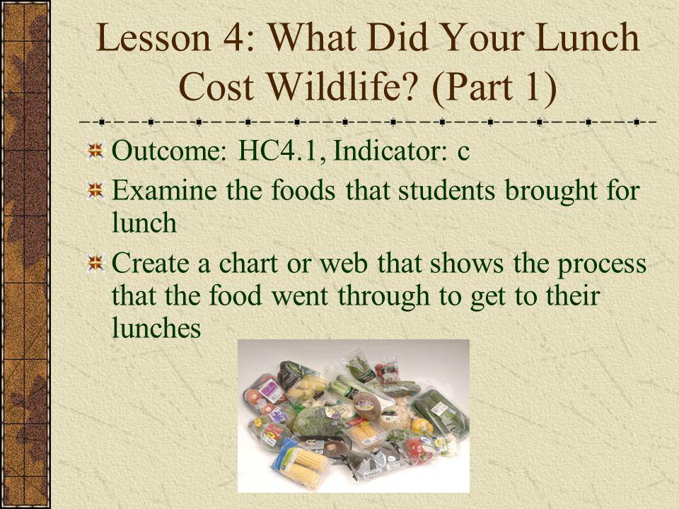 Lesson 4: What Did Your Lunch Cost Wildlife? (Part 1) Outcome: HC4.1, Indicator: c Examine the foods that students brought for lunch Create a chart or