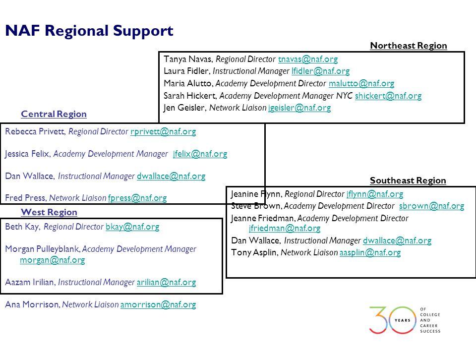 NAF Regional Support West Region Beth Kay, Regional Director bkay@naf.orgbkay@naf.org Morgan Pulleyblank, Academy Development Manager morgan@naf.org m