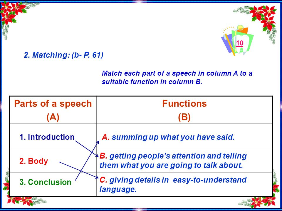 10 2. Matching: (b- P. 61) Parts of a speech (A) Functions (B) A.