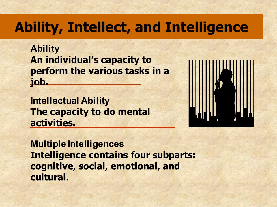 Intellectual Abilities Number aptitude Verbal comprehension Perceptual speed Inductive reasoning Deductive reasoning Spatial visualization Memory ability