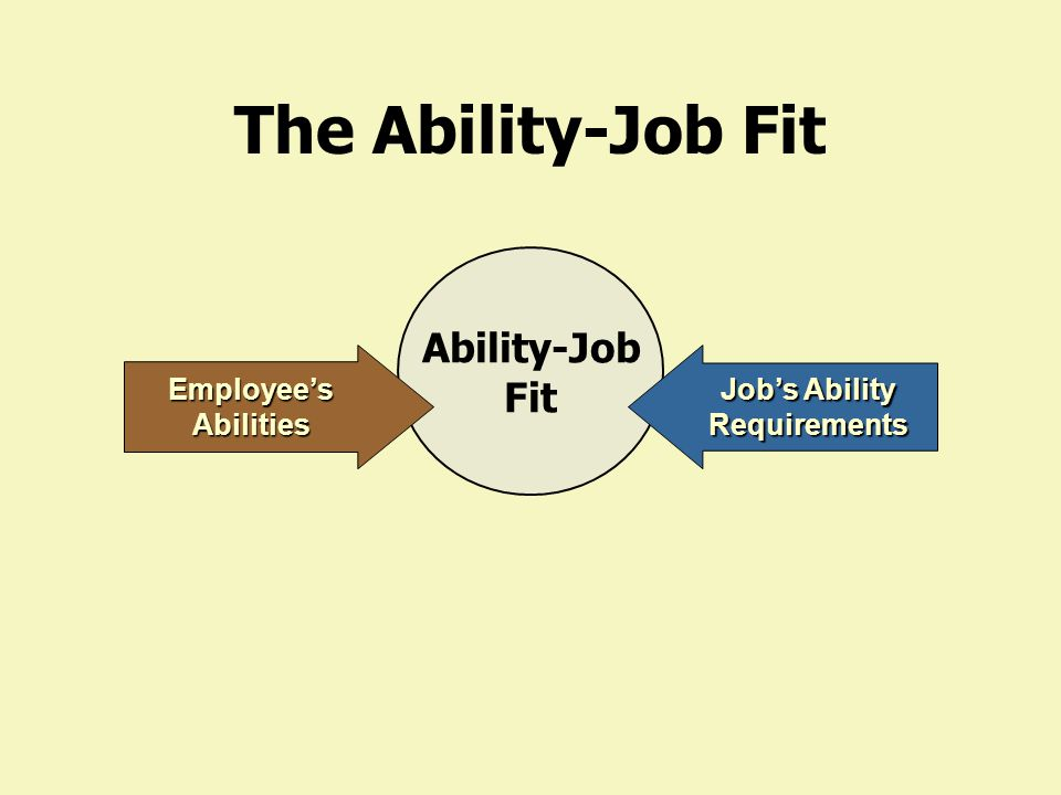 The Ability-Job Fit Abilities of the employee Requirements of the job