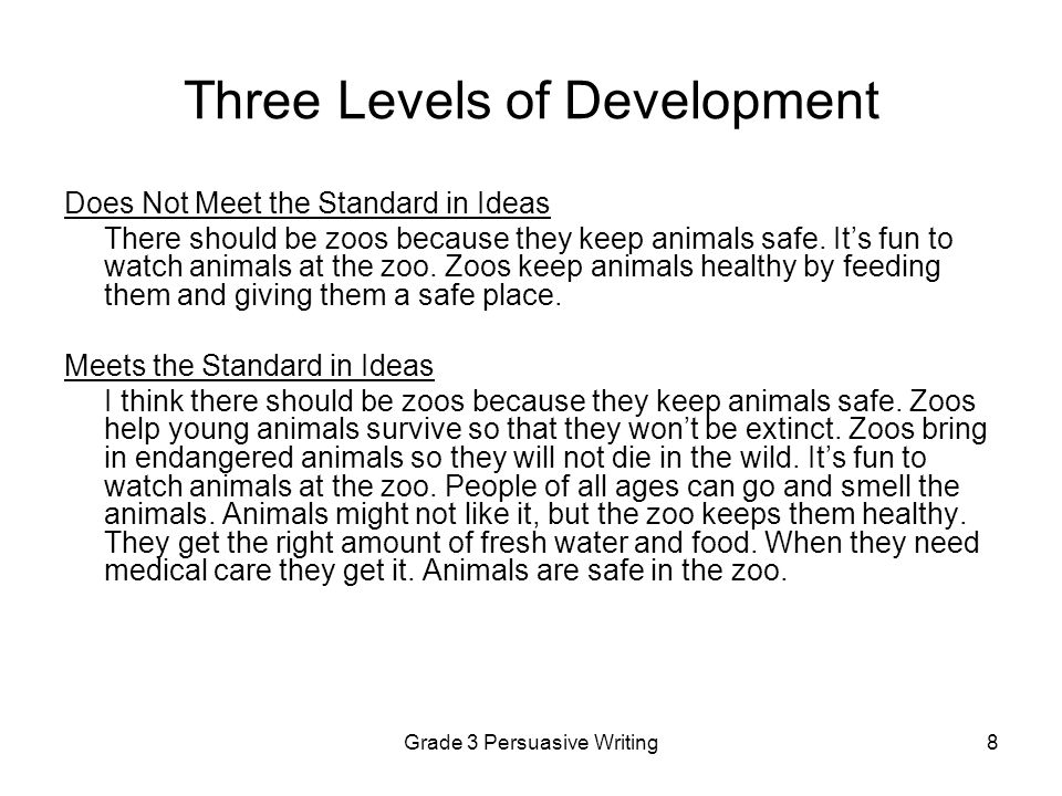 Grade 3 Persuasive Writing29 Annotations for Persuasive Paper 8 Ideas: Exceeds Standard The writer's position (we need zoos to protect animals) is clear and well developed.