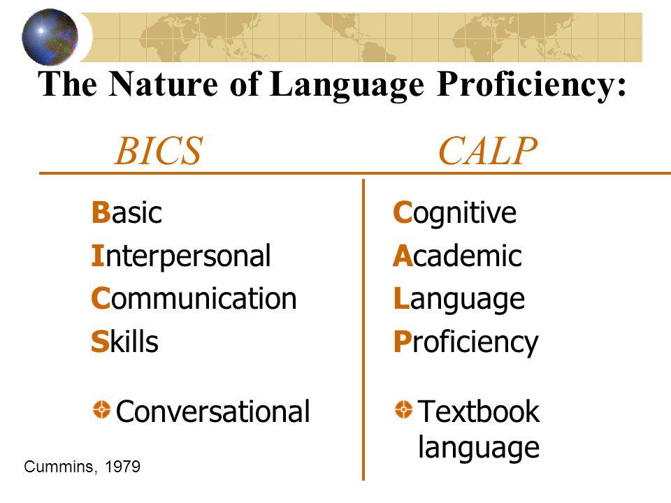 BICS CALP Basic Interpersonal Communication Skills Conversational Cognitive Academic Language Proficiency Textbook language The Nature of Language Pro