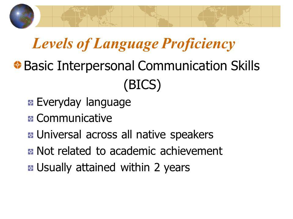 Levels of Language Proficiency Basic Interpersonal Communication Skills (BICS) Everyday language Communicative Universal across all native speakers No
