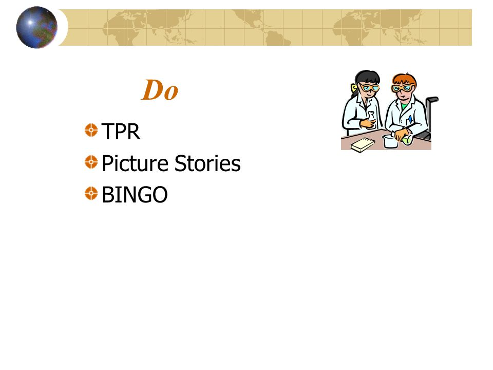 Do TPR Picture Stories BINGO