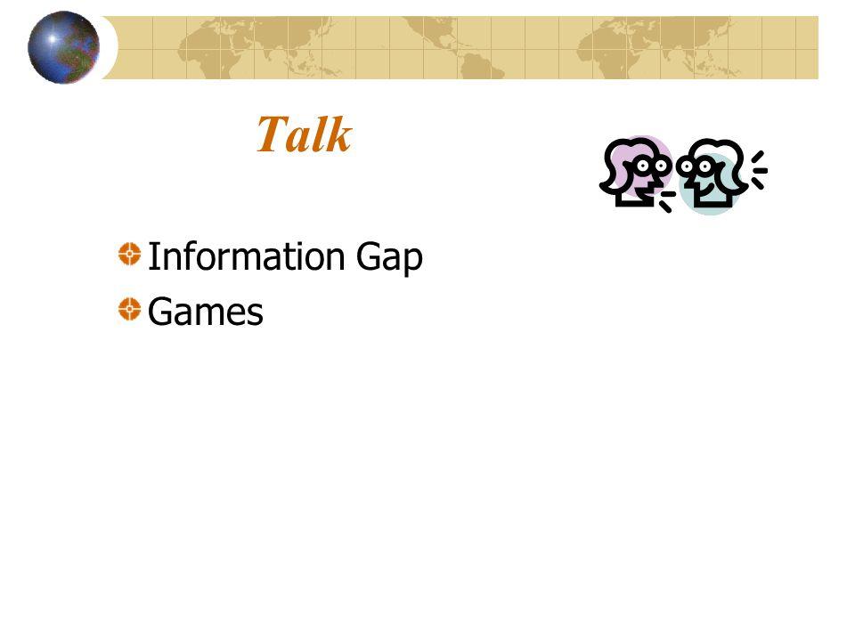Talk Information Gap Games