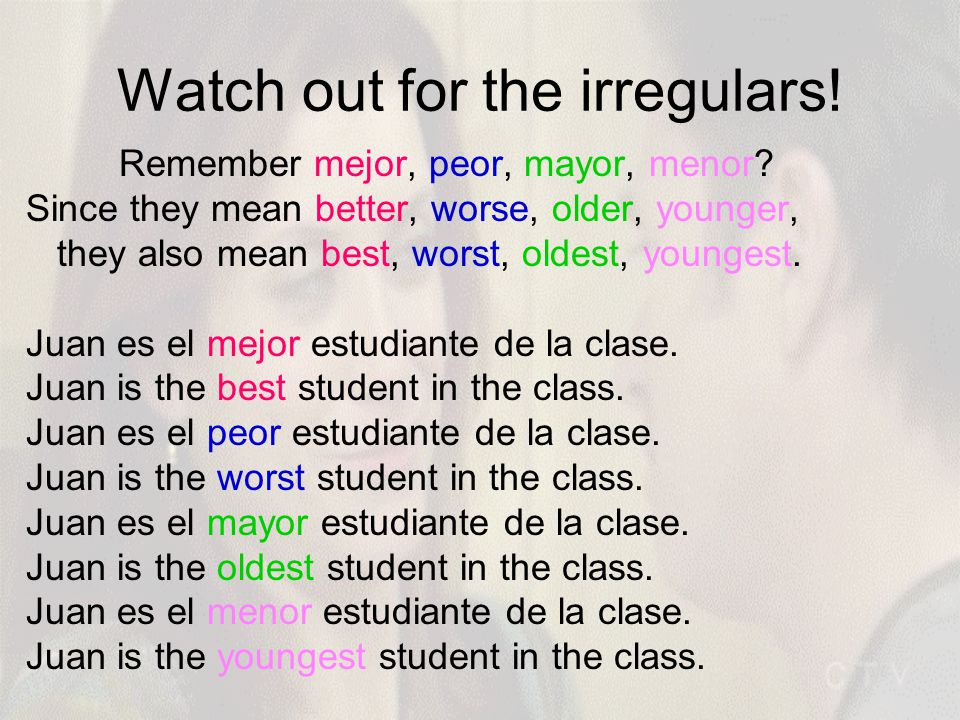Watch out for the irregulars. Remember mejor, peor, mayor, menor.