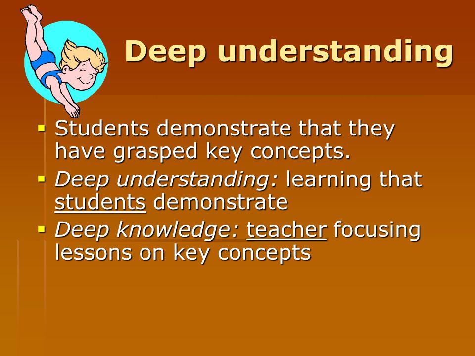 Deep understanding  Students demonstrate that they have grasped key concepts.  Deep understanding: learning that students demonstrate  Deep knowled