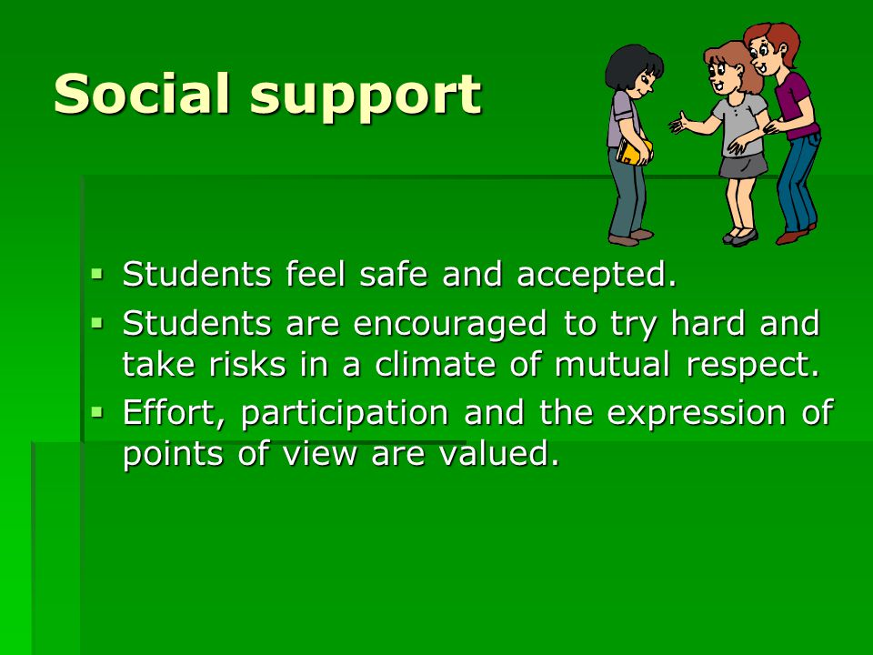 Social support  Students feel safe and accepted.  Students are encouraged to try hard and take risks in a climate of mutual respect.  Effort, parti