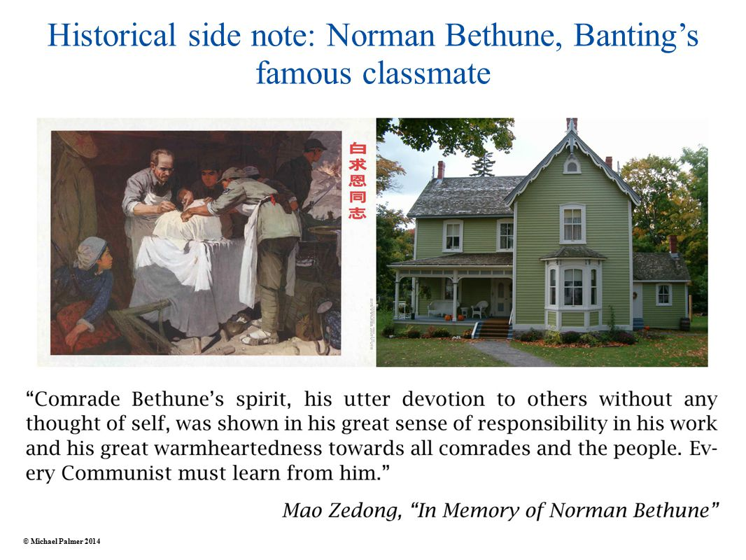 Historical side note: Norman Bethune, Banting's famous classmate © Michael Palmer 2014