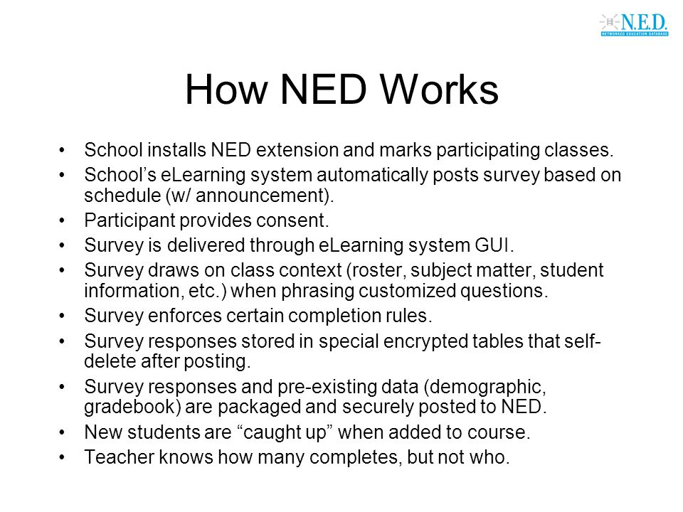 How NED Works School installs NED extension and marks participating classes. School's eLearning system automatically posts survey based on schedule (w