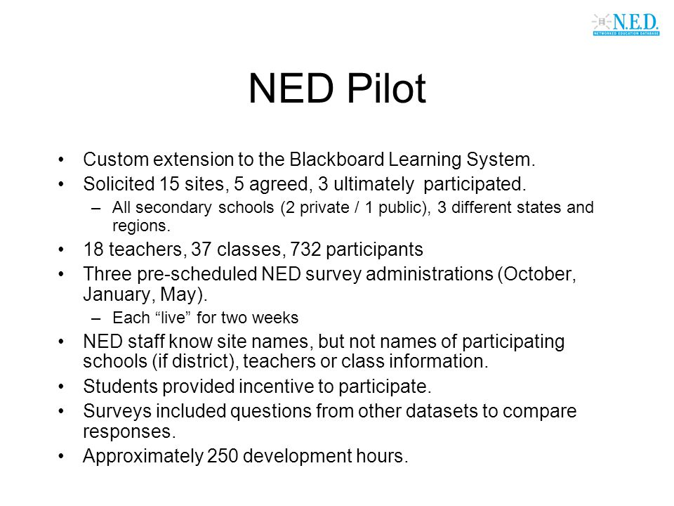 NED Pilot Custom extension to the Blackboard Learning System. Solicited 15 sites, 5 agreed, 3 ultimately participated. –All secondary schools (2 priva