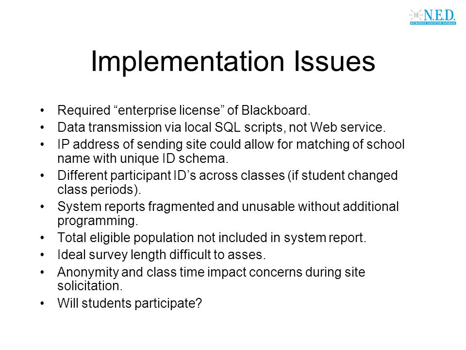 Implementation Issues Required enterprise license of Blackboard.