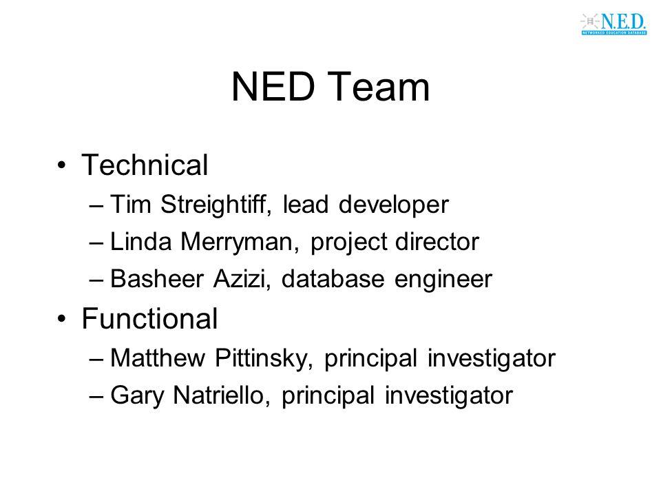 NED Team Technical –Tim Streightiff, lead developer –Linda Merryman, project director –Basheer Azizi, database engineer Functional –Matthew Pittinsky,