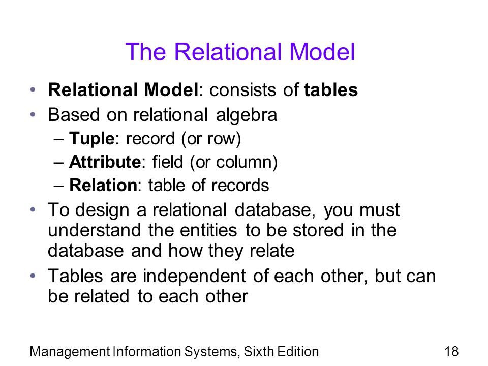 Management Information Systems, Sixth Edition18 The Relational Model Relational Model: consists of tables Based on relational algebra –Tuple: record (