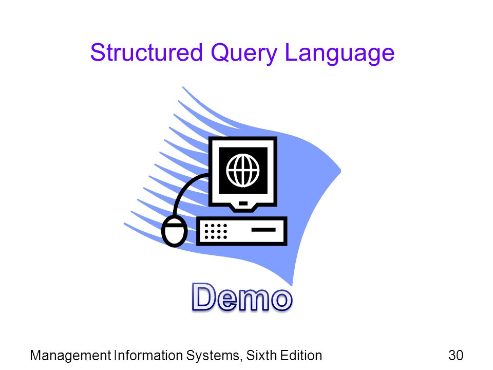 Management Information Systems, Sixth Edition30 Structured Query Language