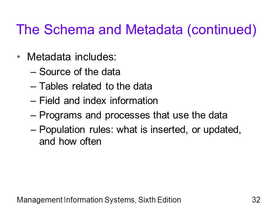 Management Information Systems, Sixth Edition32 The Schema and Metadata (continued) Metadata includes: –Source of the data –Tables related to the data