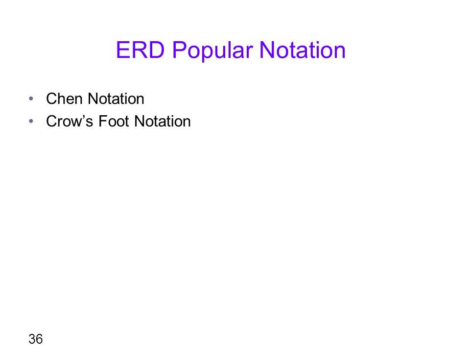 ERD Popular Notation Chen Notation Crow's Foot Notation 36