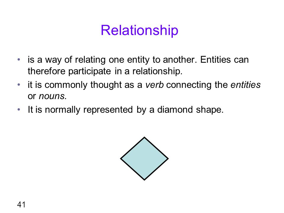 Relationship is a way of relating one entity to another. Entities can therefore participate in a relationship. it is commonly thought as a verb connec