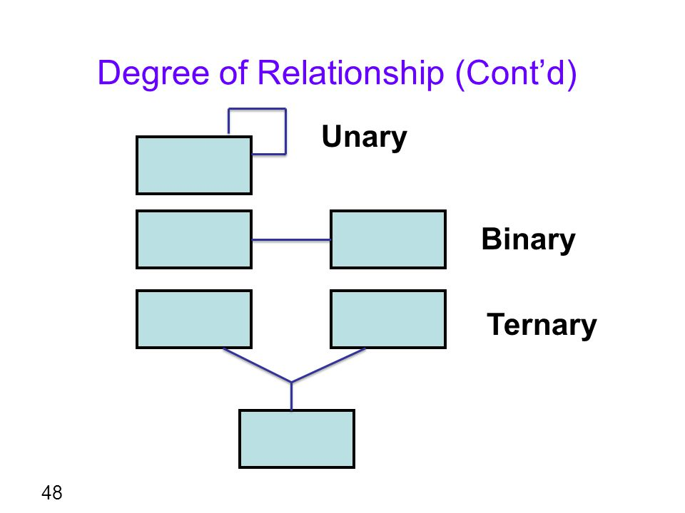 Degree of Relationship (Cont'd) 48 Unary Binary Ternary