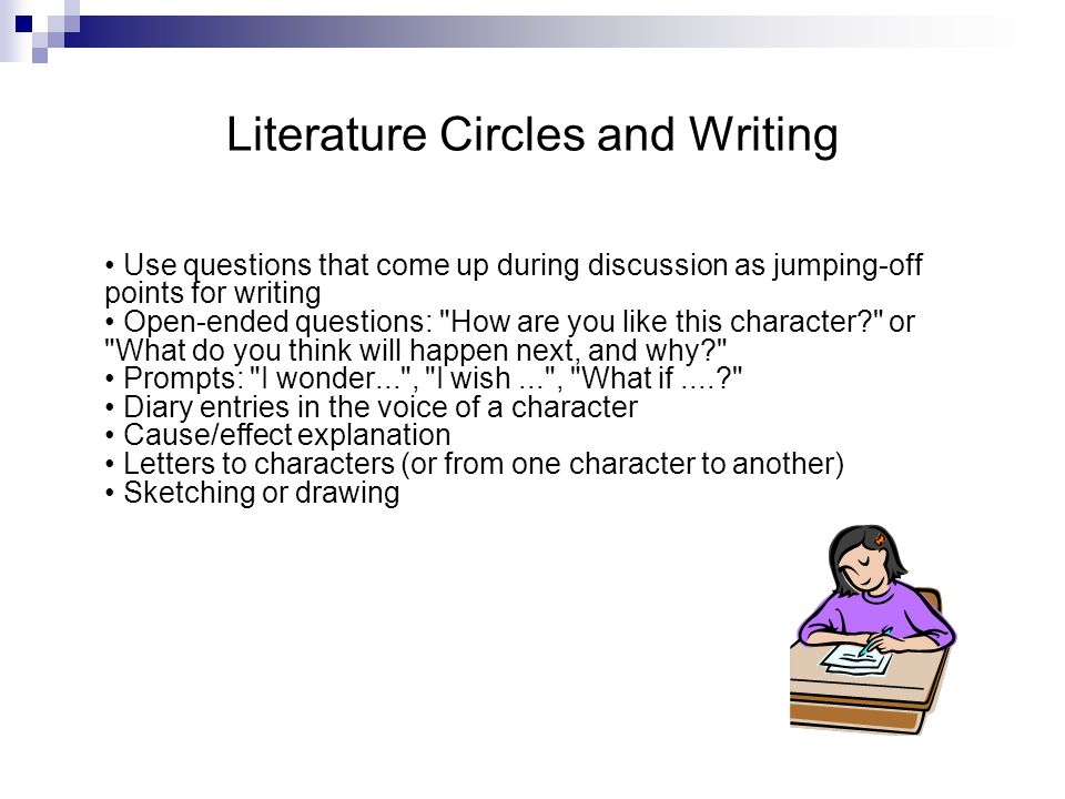 Literature Circles and Writing Use questions that come up during discussion as jumping-off points for writing Open-ended questions: How are you like this character or What do you think will happen next, and why Prompts: I wonder... , I wish... , What if.... Diary entries in the voice of a character Cause/effect explanation Letters to characters (or from one character to another) Sketching or drawing