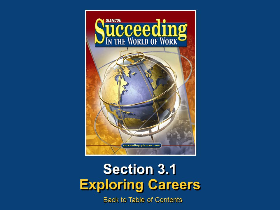 Section 3.1 Exploring Careers Back to Table of Contents