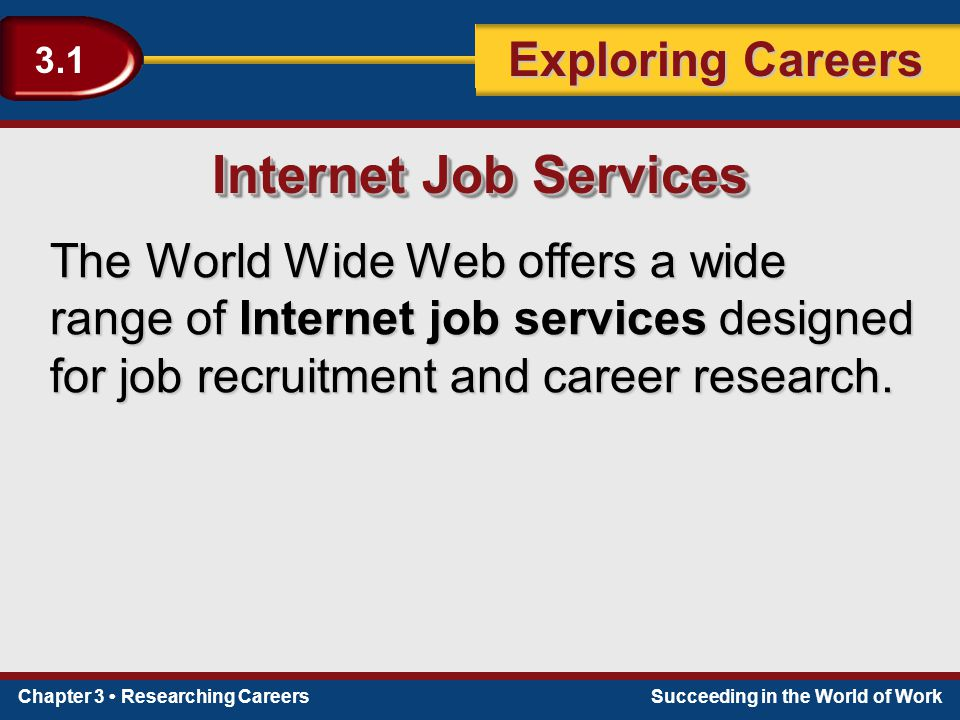 Chapter 3 Researching CareersSucceeding in the World of Work Exploring Careers 3.1 The World Wide Web offers a wide range of Internet job services des