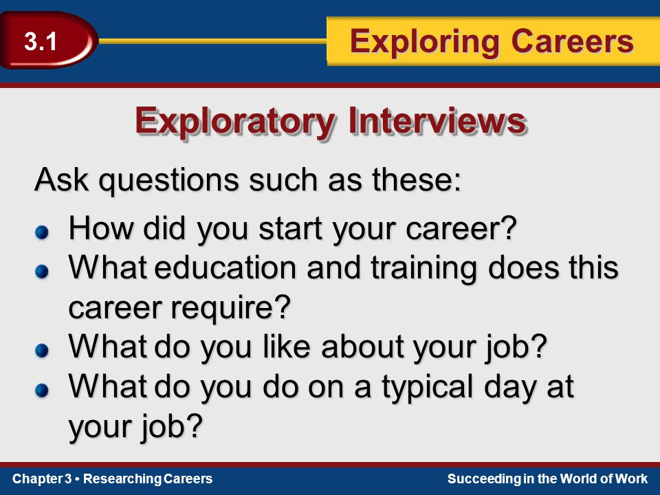Chapter 3 Researching CareersSucceeding in the World of Work Exploring Careers 3.1 Ask questions such as these: Exploratory Interviews How did you sta