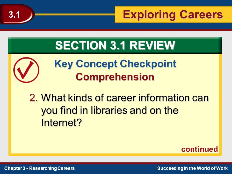 Chapter 3 Researching CareersSucceeding in the World of Work Exploring Careers 3.1 Key Concept Checkpoint Comprehension 2.What kinds of career informa