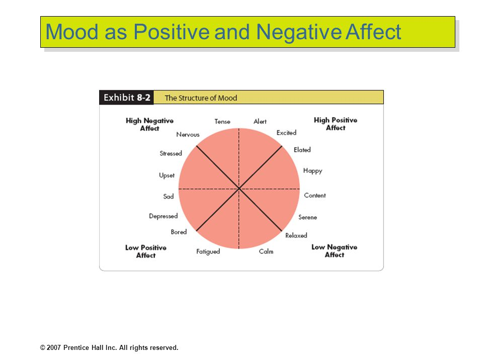 © 2007 Prentice Hall Inc. All rights reserved. Mood as Positive and Negative Affect