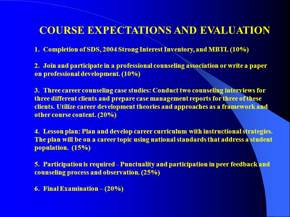COURSE EXPECTATIONS AND EVALUATION 1.Completion of SDS, 2004 Strong Interest Inventory, and MBTI.