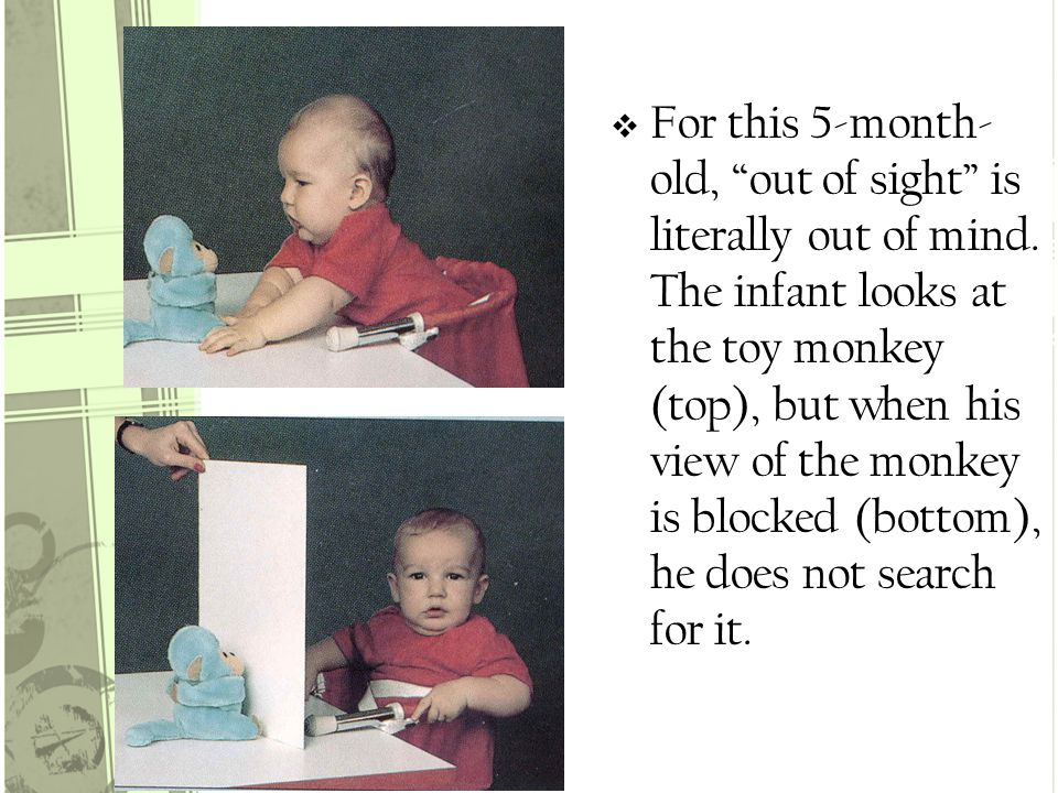  For this 5-month- old, out of sight is literally out of mind.