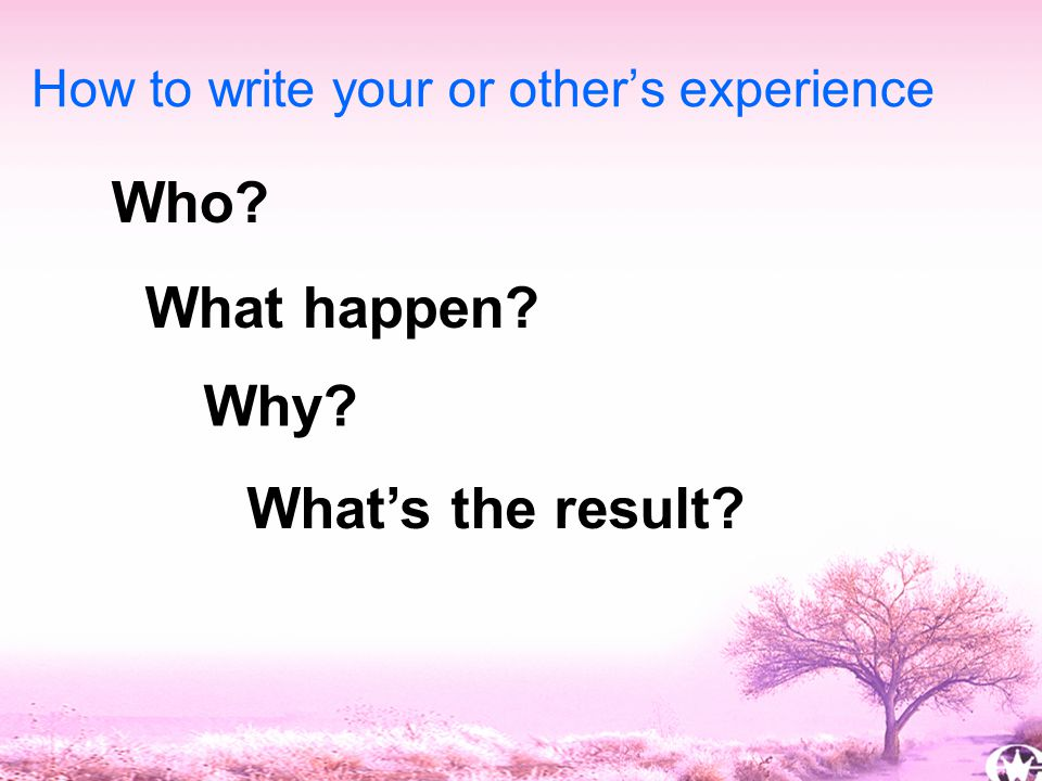 16 Who How to write your or other's experience What happen Why What's the result