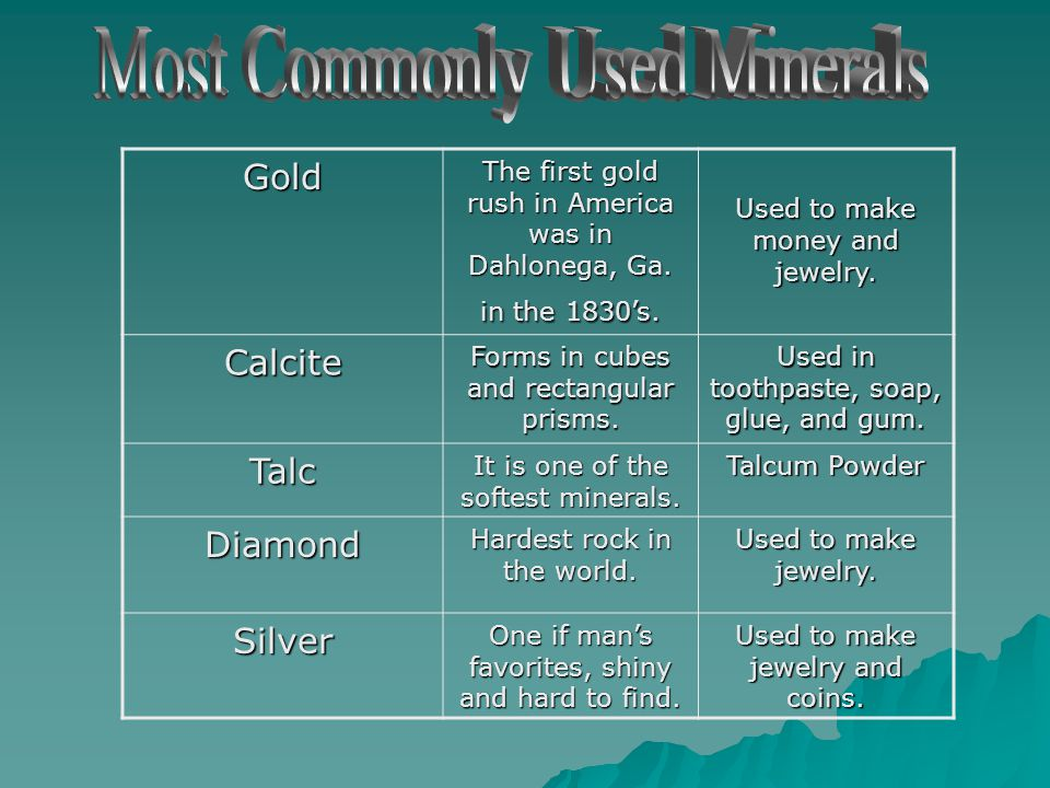 What are Minerals? A mineral is a solid material made of one substance, that occurs naturally on Earth. Most of the common minerals are made of crysta