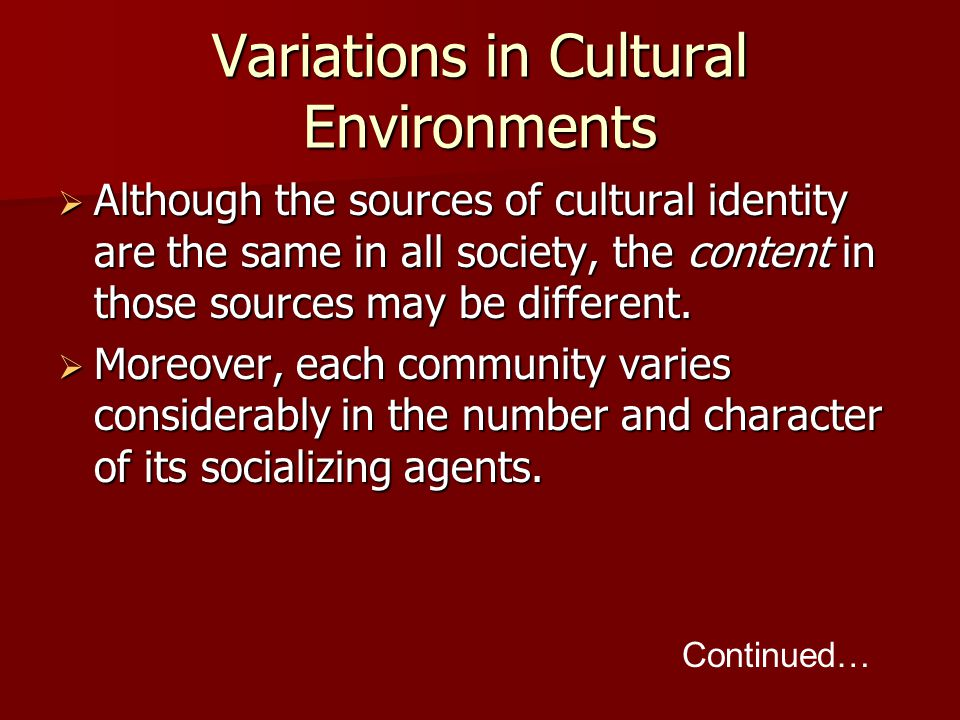 Variations in Cultural Environments  Although the sources of cultural identity are the same in all society, the content in those sources may be different.