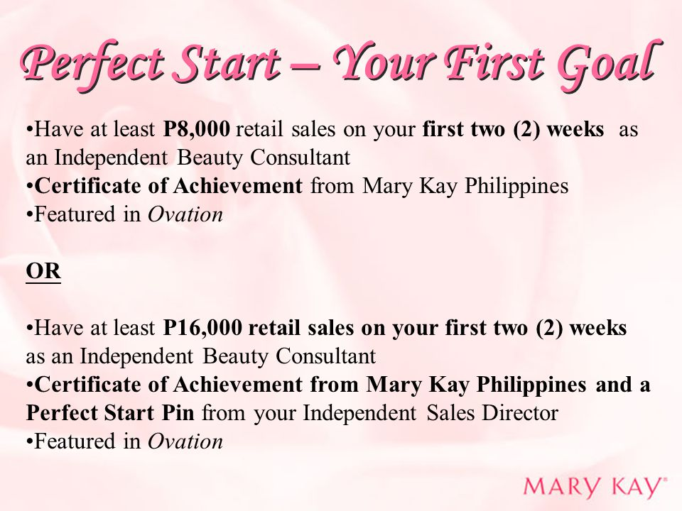 Perfect Start – Your First Goal Have at least P8,000 retail sales on your first two (2) weeks as an Independent Beauty Consultant Certificate of Achie