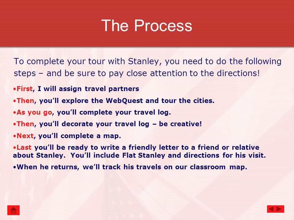 The Process To complete your tour with Stanley, you need to do the following steps – and be sure to pay close attention to the directions.