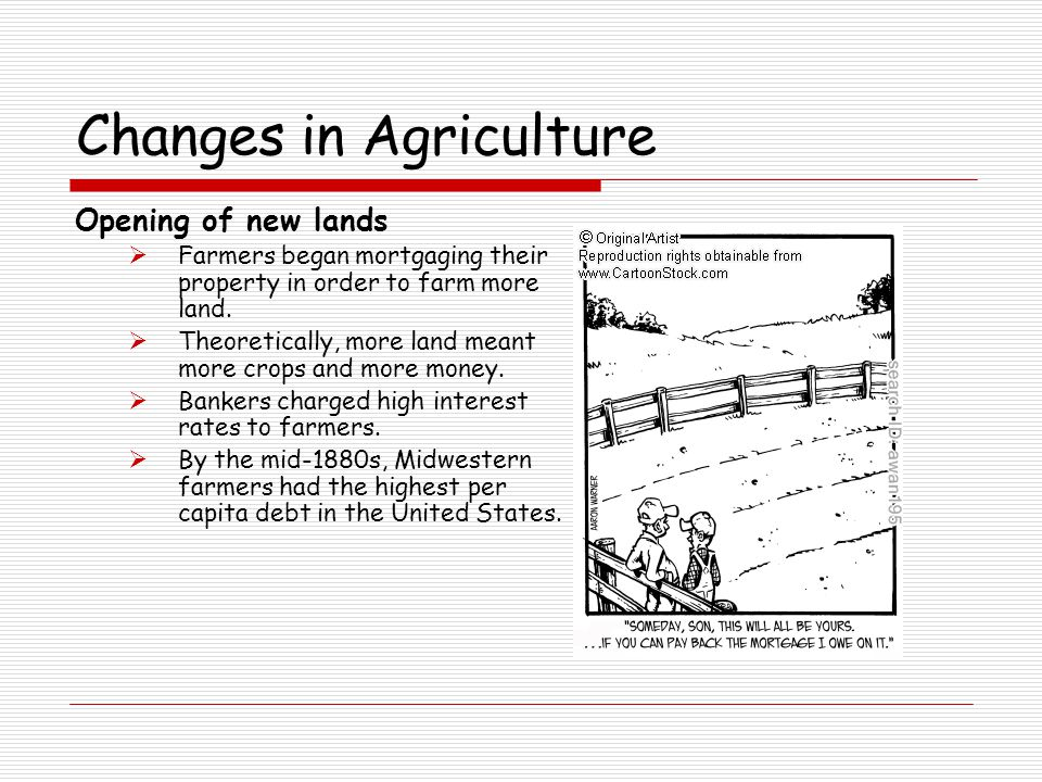 Changes in Agriculture Opening of new lands  Farmers began mortgaging their property in order to farm more land.