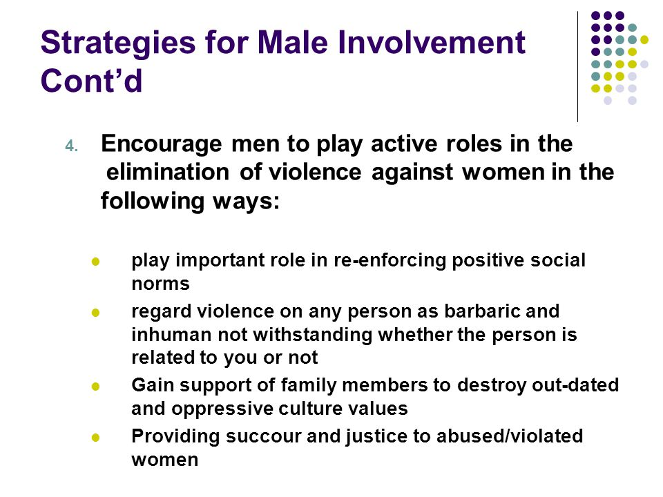 Strategies for Male Involvement Cont'd 4. Encourage men to play active roles in the elimination of violence against women in the following ways: play