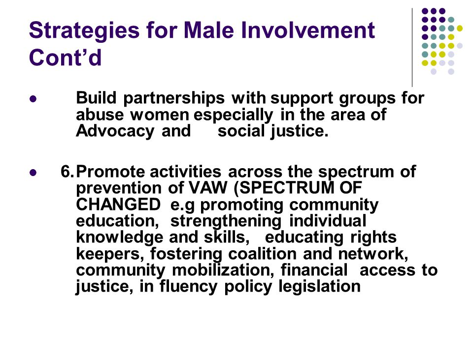 Strategies for Male Involvement Cont'd Build partnerships with support groups for abuse women especially in the area of Advocacy and social justice.