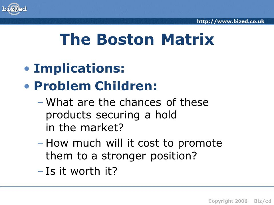 http://www.bized.co.uk Copyright 2006 – Biz/ed The Boston Matrix Implications: Problem Children: –What are the chances of these products securing a hold in the market.