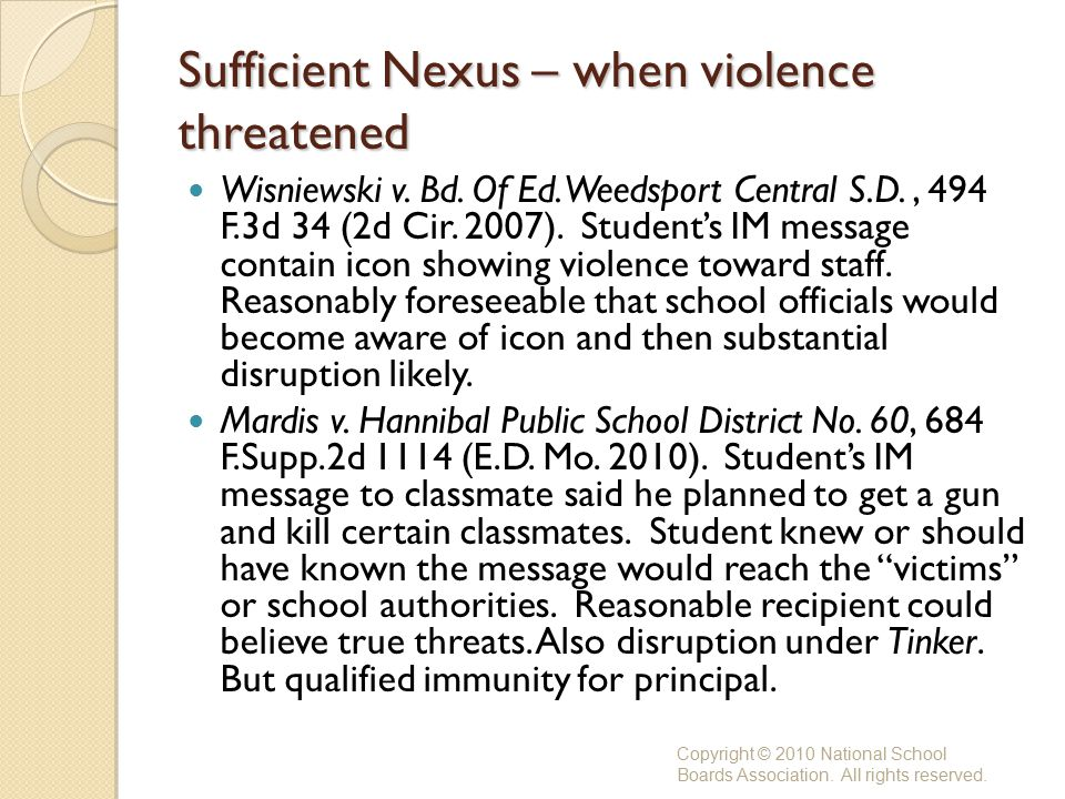 Sufficient Nexus – when violence threatened Wisniewski v.
