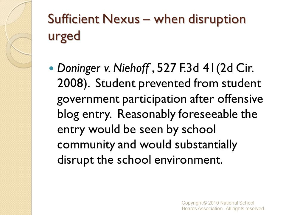 Sufficient Nexus – when disruption urged Doninger v.